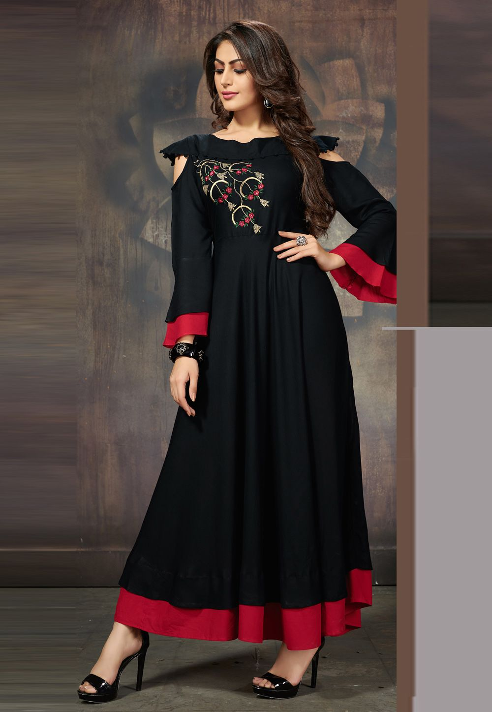 e1b00a944a Shop Black Rayon Readymade Kurti 163444 online at best price from vast  collection of designer kurti at Indianclothstore.com.