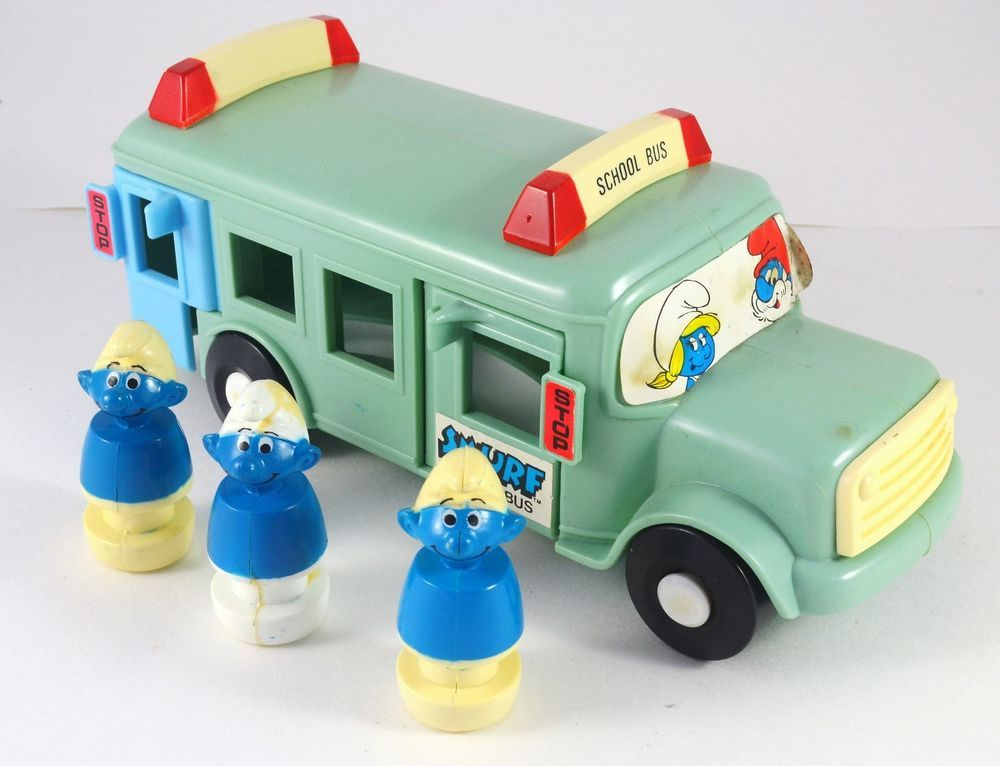 Smurfs School Bus 1982 Illco & Peyo Toy 3 Smurf Figures #Illco