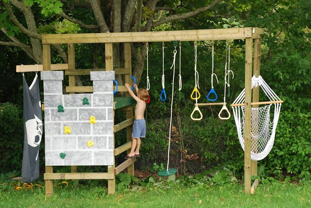 Diy build your own play structure climbing swinging and for Diy play structures backyard