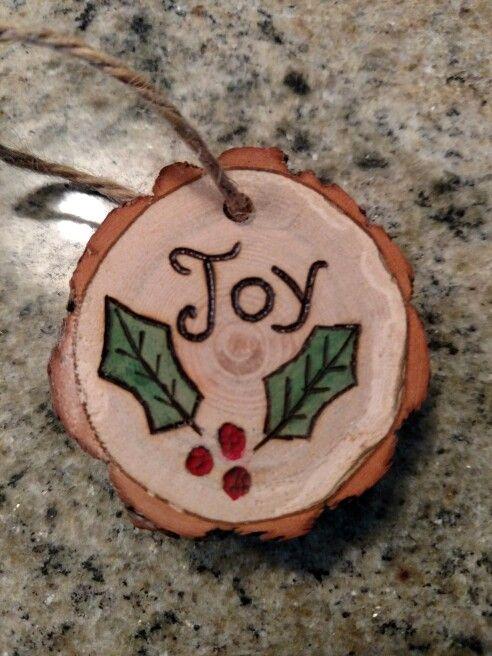 Rustic Joy Wood Burned Christmas Ornament Natural Wood