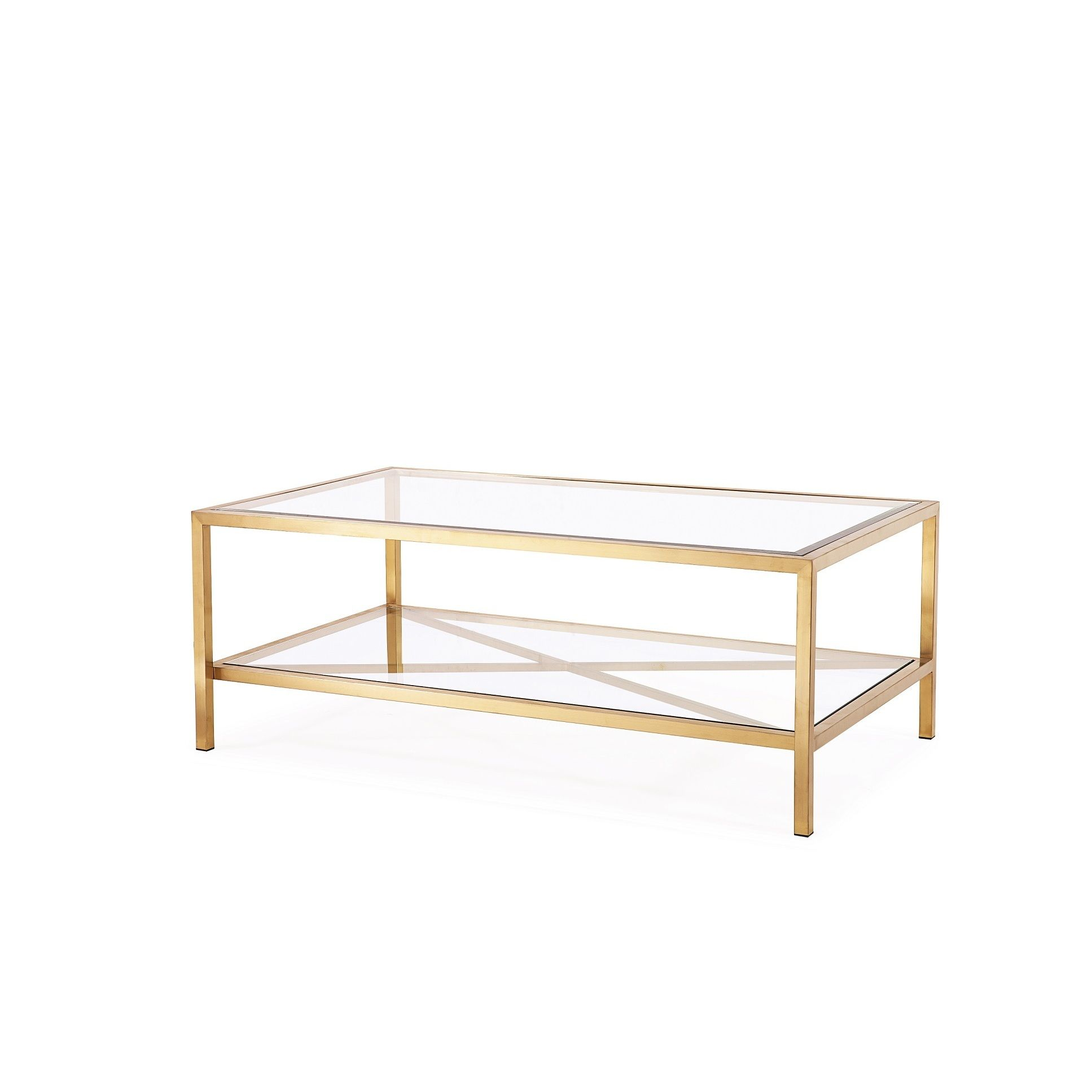 Antique Gold And Glass Coffee Table: Gardner Coffee Table Featuring A Sleek, Antique Gold
