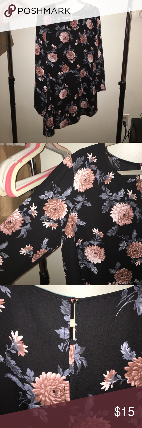 Long Sleeve Floral Blouse Dress Long sleeve floral dress. The material is tight fitting but the dress itself is loose. Small opening in the back as pictured above. Forever 21 Dresses Long Sleeve