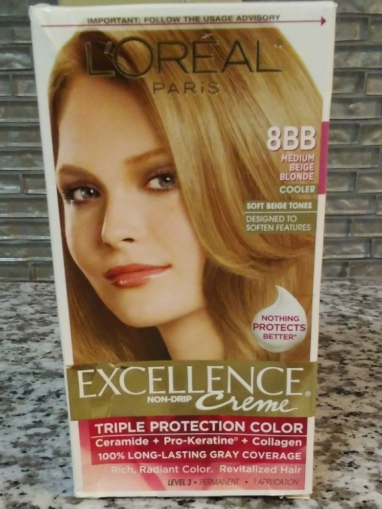 Loreal Excellence Triple Protection Color Creme Haircolor 8bb Medium Beige Blon L