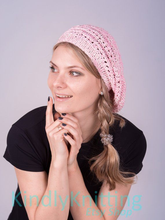 86142ea8412404 Knitted cotton summer hat beret for women Summer cotton knit slouchy beret  Pink knit hat beanie wom