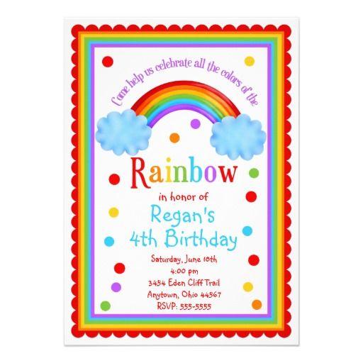 rainbow birthday party invitation summer time pinterest