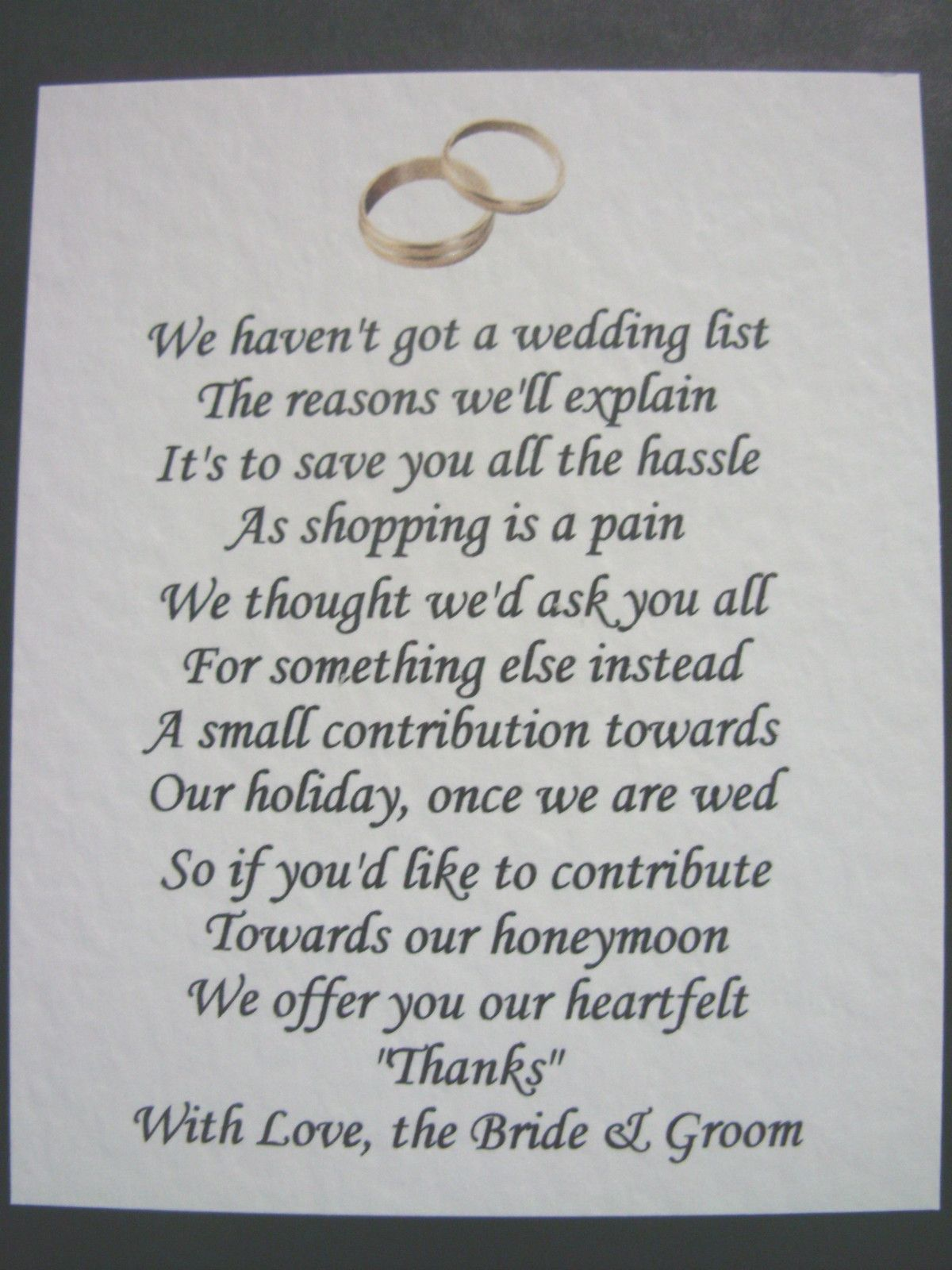40 Wedding Poems Asking For Money Gifts Not Presents Ref No 2 Ebay