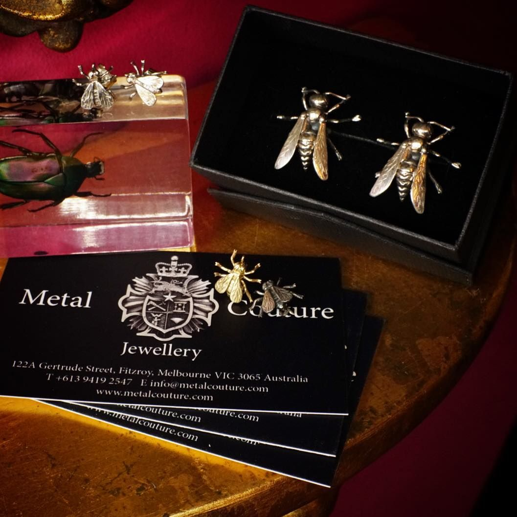 Would you like some honey bee with your 3 piece? Or perhaps a lacewing with your Lacey cocktail number? 9ct Gold & Stg Silver creepy crawlies of every decree for ears, lapels and cuffs. #handmade #handcrafted #jeweller #jewellery #madeinmelbourne #fly #bee #honeybee #gold #silver #gothic #goth #vintage #design #localbusiness #supportlocal #metalcouture #cathedralring