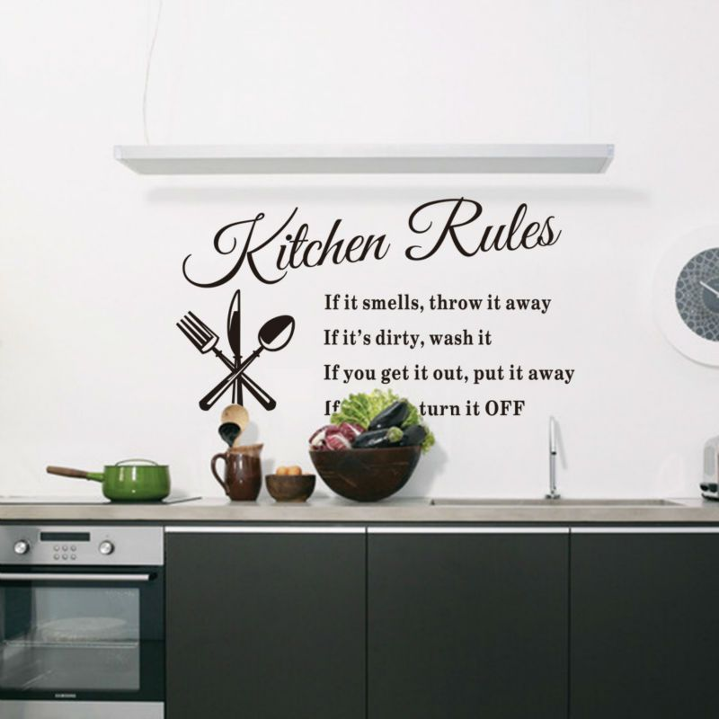57 33 Cm Diy Removable Words Kitchen Rules Wall Stickers For Kitchen Decal Home Decor Vinyl Kitchen Wall Stickers Wall Stickers Home Decor Kitchen Wall Decals