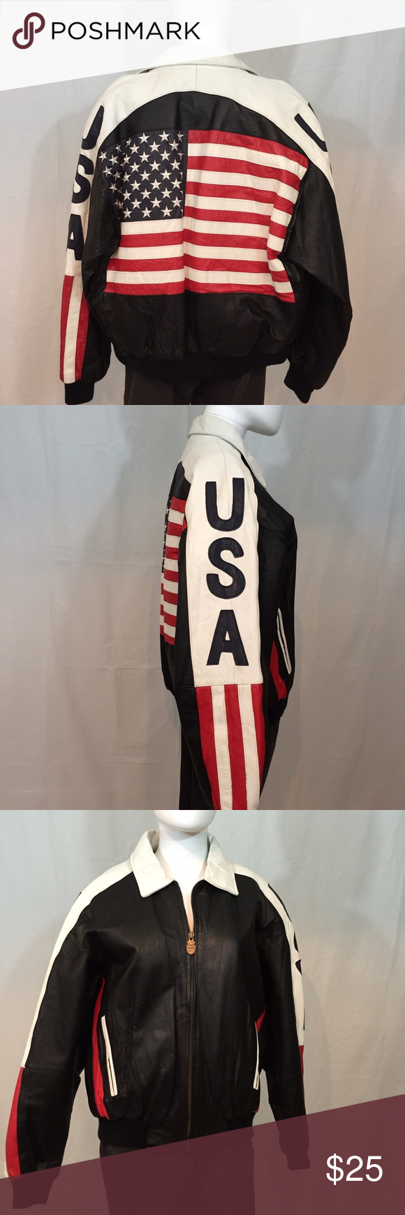 Men's leather USA jacket Men's USA flag leather jacket Jackets & Coats