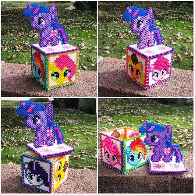 my little pony box perler beads by perler magic geek. Black Bedroom Furniture Sets. Home Design Ideas