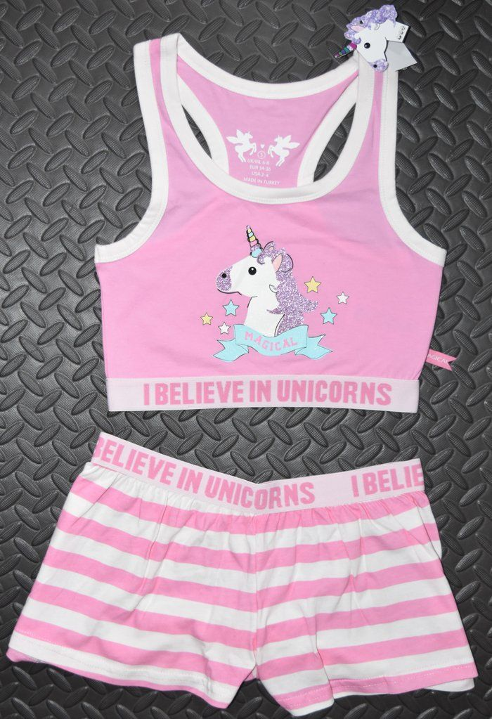 abbd08235b PRIMARK Unicorn Crop Vest  amp  Shorts Set PJ PYJAMAS Emoji I Believe In  Size 4