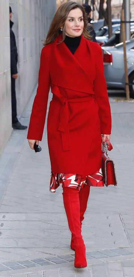 Queen Letizia in all over sizzling red for AECC meeting  f2539ee8a446