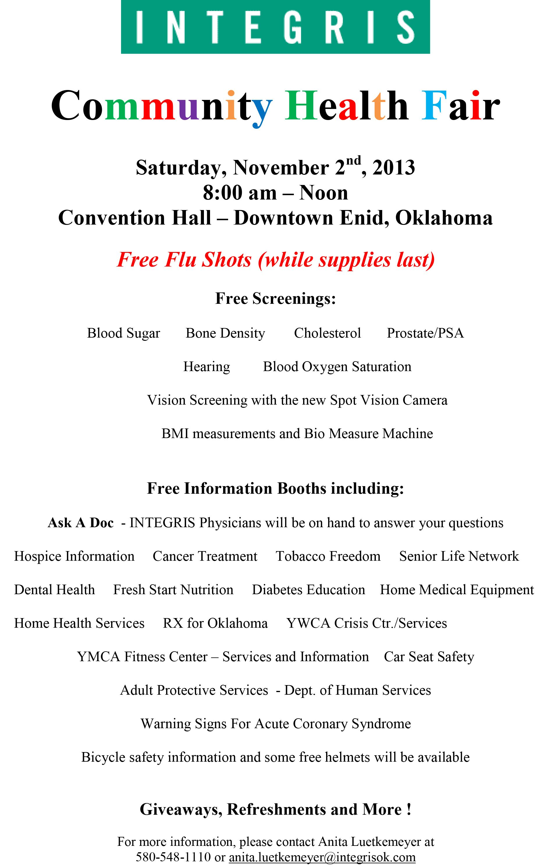 Community Health Fair In Enid, Oklahoma Health fair
