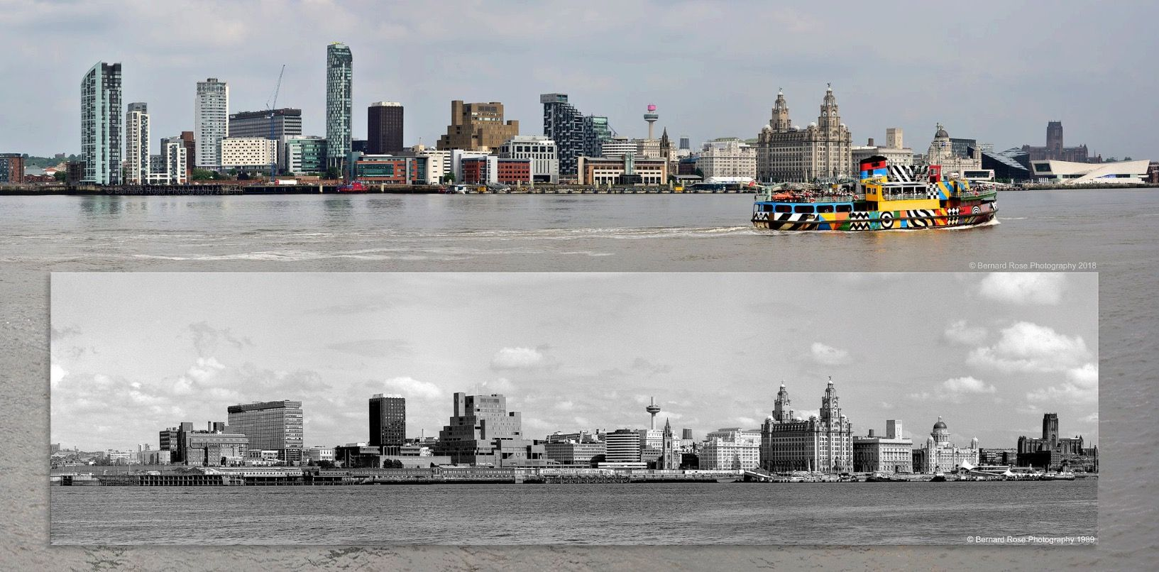 2018 & 29 years ago Liverpool from the Mersey