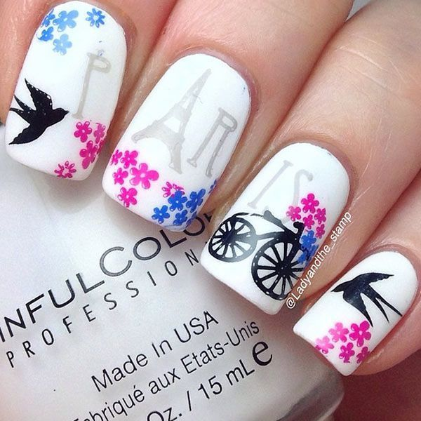 quenalbertini: Paris Nail Design by ladyandthe_stamp - Instagram-Inspired 10 Smashing Nail Art Designs For Long Nails
