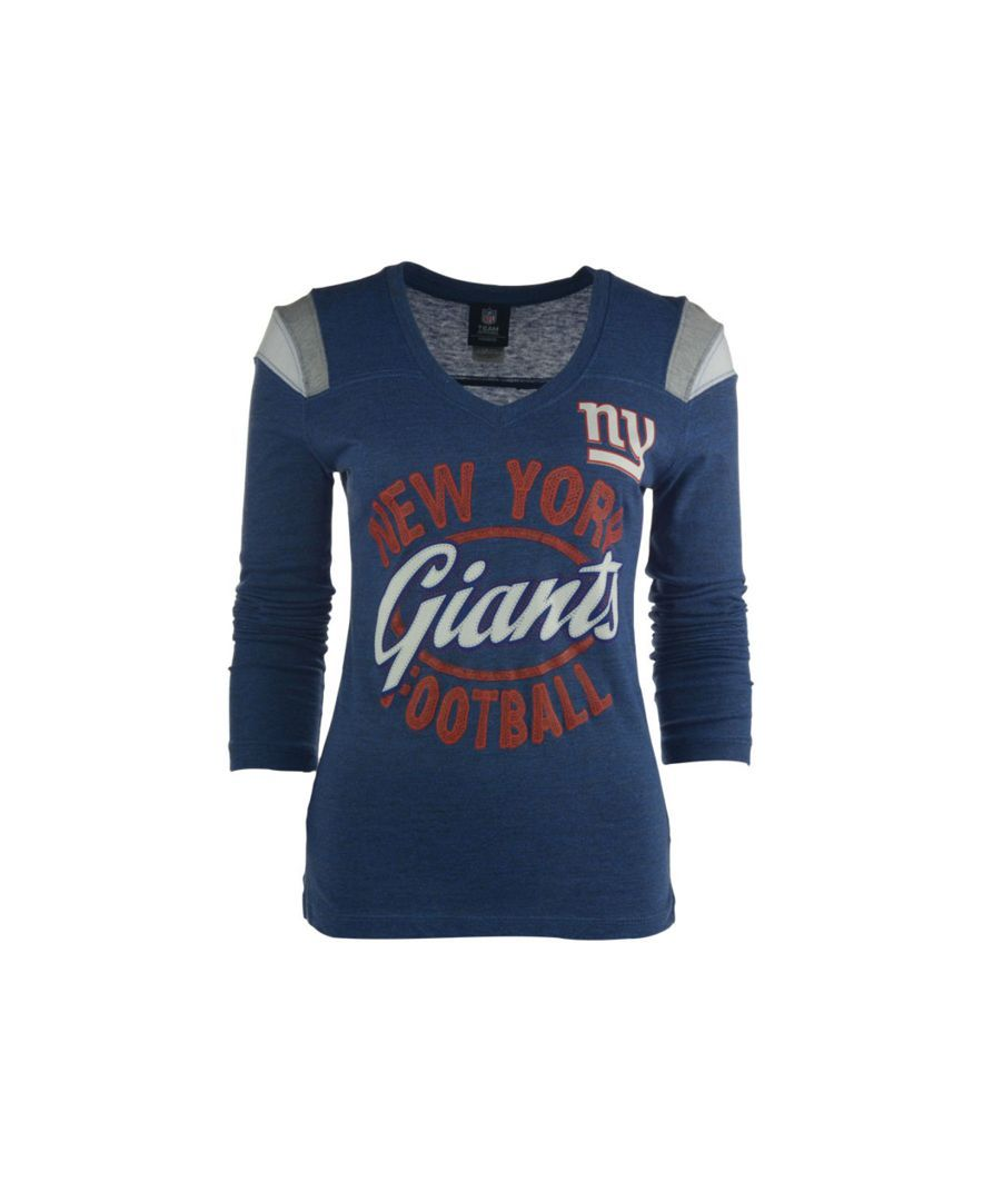 0c42a5b3b 5th   Ocean Women s Long-Sleeve New York Giants Shoulder Stripe T-Shirt