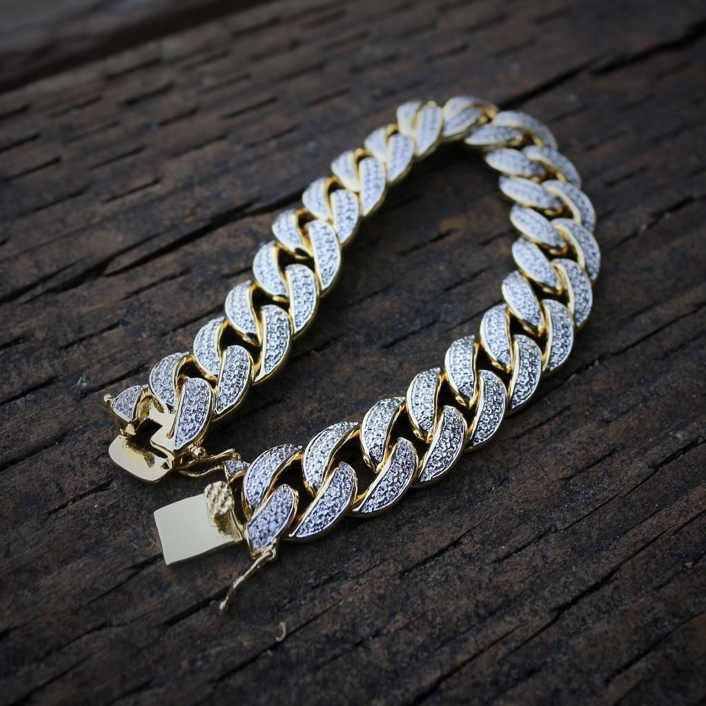 Cool awesome iced out lab diamond k gold cuban link bracelet