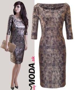 1f16036be Elegantné spoločenské šaty puzdrového strihu v dĺžke po kolená vo  veľkostiach aj pre moletky.-