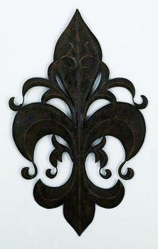 Louis Xvi Fleur De Lis Handcrafted Metal Wall Sculpture Wrought Iron Decor