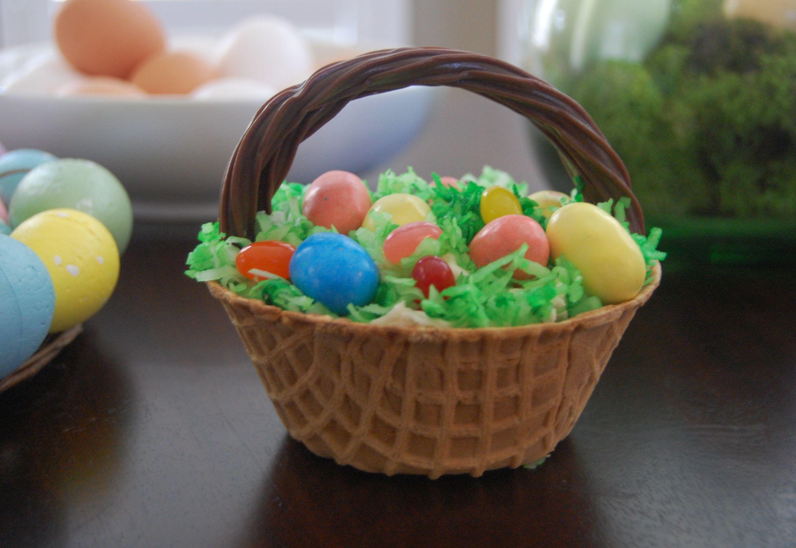waffle bowl easter baskets, cute idea!