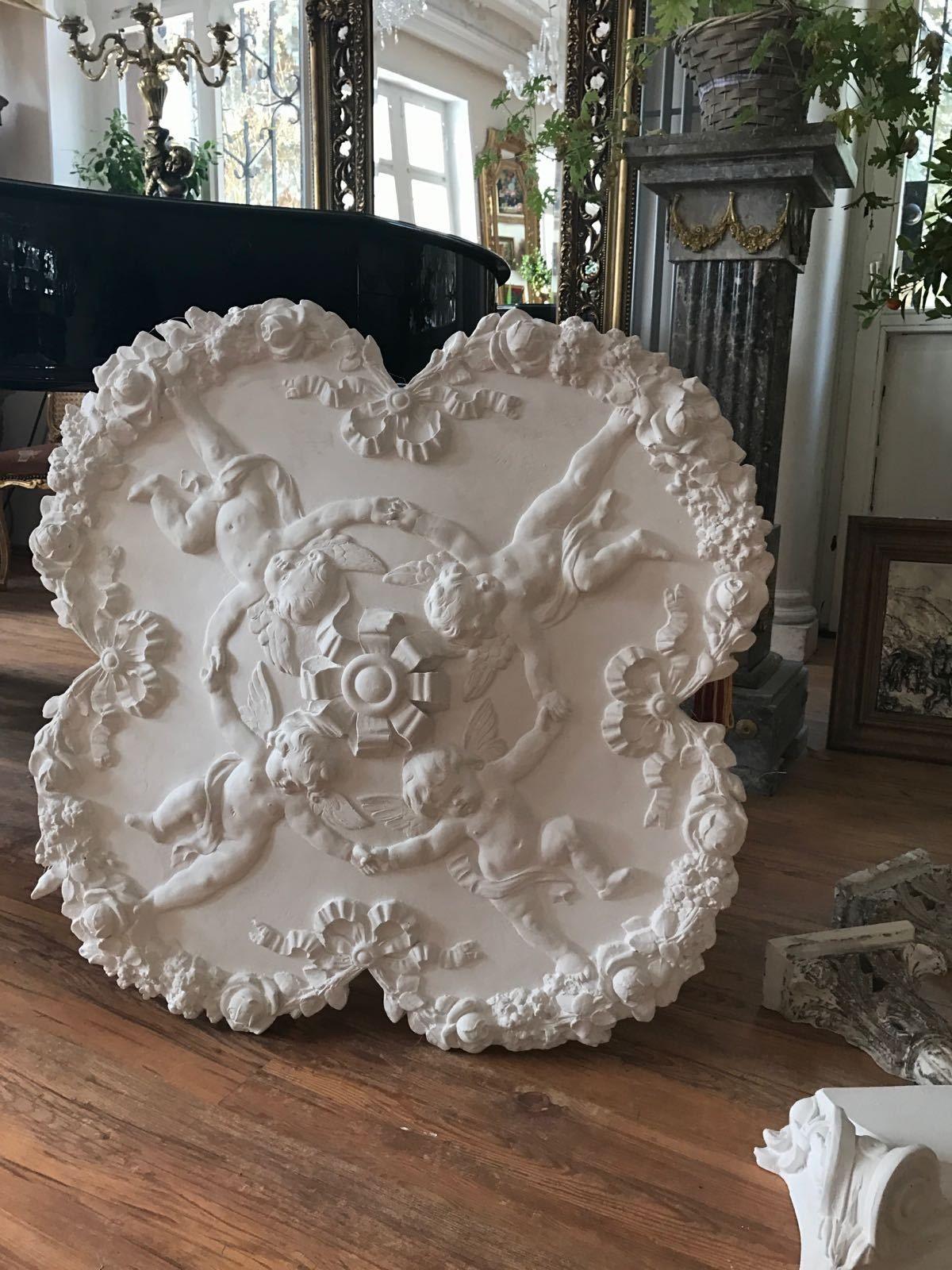 stucco- wunderschöne engel - stuckrosette 100-437 rosette aus stuck