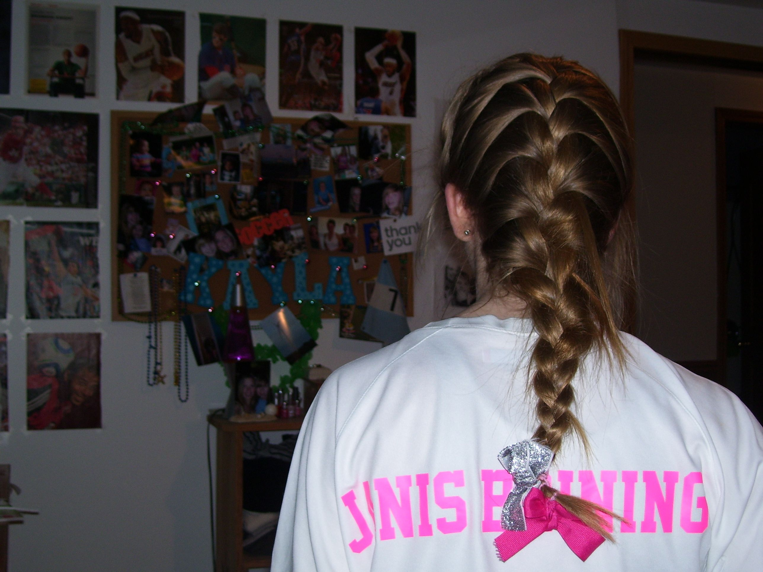 French braid with pink ribbons cancergame basketball pink