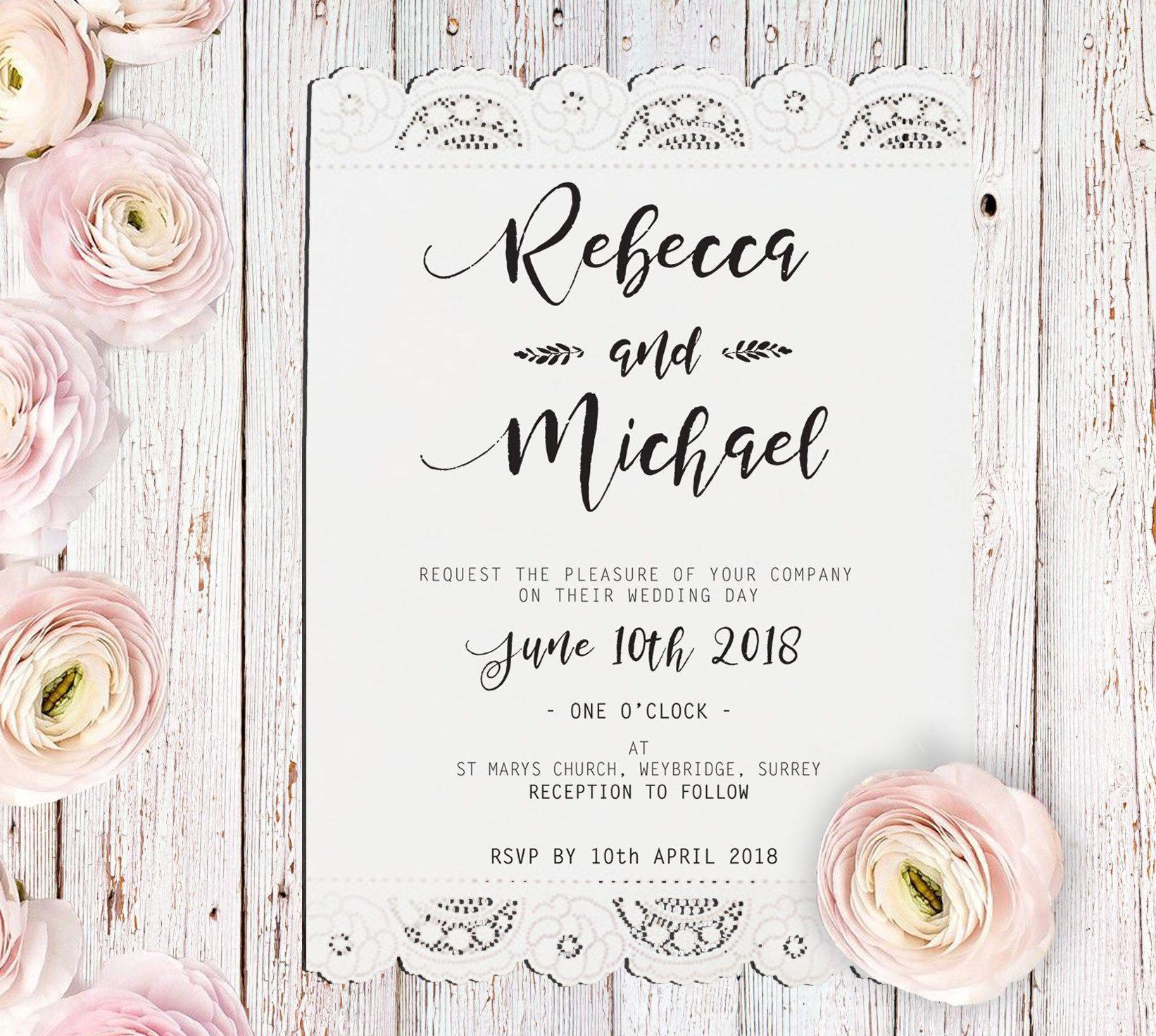 Laser cut invitation,Lace #Wedding Invite,#Rustic Wedding Invitation ...