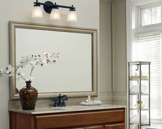 this plate glass mirror was made over by adding a mirrormate frame in the bellemeade vintage champagne style the frame just presses right onto the glass - Mirrormate Frames