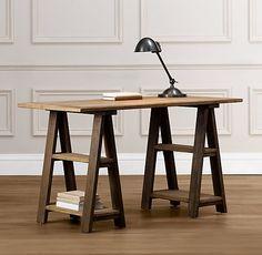 Ikea Oddvald Trestle Table Leg Black Solid Wood Set of 2