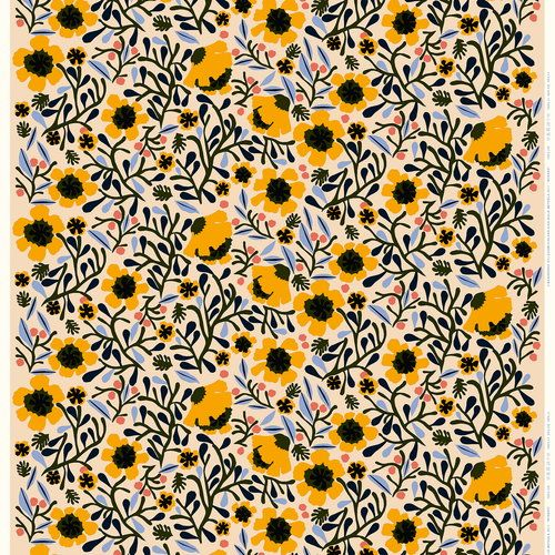 Marimekko Mykerö fabric in off white, designed by Aino-Maija Metsola, features a multicolored flower pattern #marimekko #ainomaijametsola #pattern #floralpattern #floralprint #yellow #offwhite #lightblue #flowers #homedecor #hometextiles #flowerpatterndesign