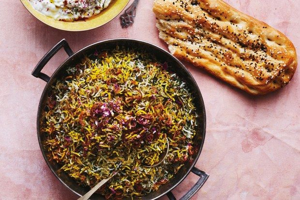 Herb Rice With Green Garlic Saffron And Crispy Shallots Recipe Crispy Shallots Middle