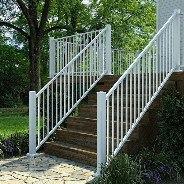 Fortress al aluminum deck railing for stairs in gloss
