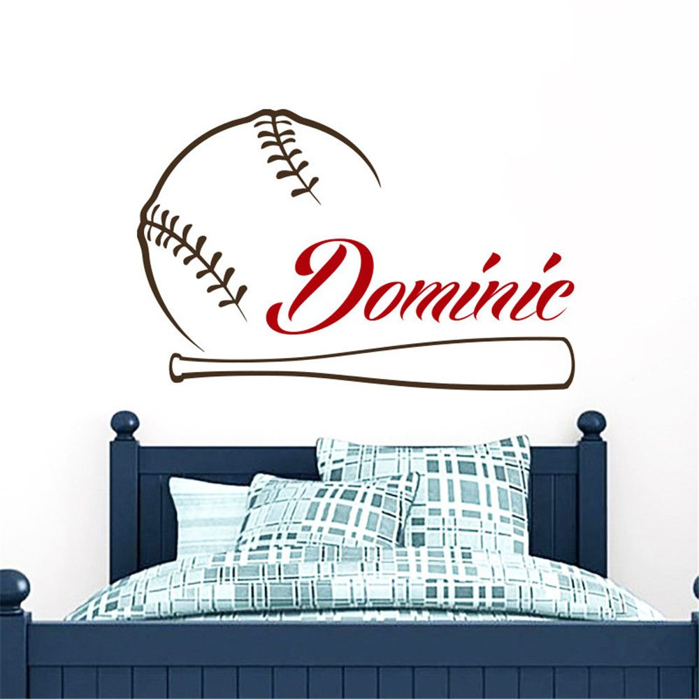 Baseball Wall Sticker Custom Name Sports Decal Personalized Baby Boys Name Decor Kids Room Wall Art Ad Sports Wall Decals Baseball Wall Decal Baseball Wall Art