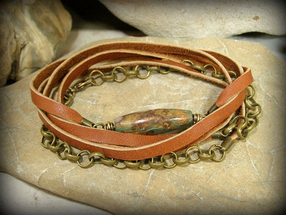 Wrap Bracelet Leather Bracelet Mens Bracelet by StoneWearDesigns