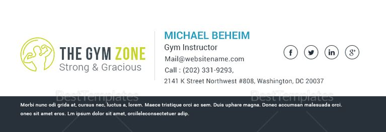 Gym Email Signature Template Email Signature Templates Email