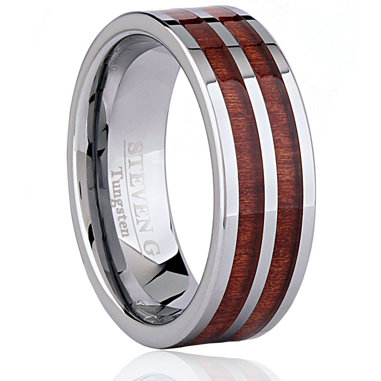 Tungsten Carbide Ring Style Wedding Band 8mm Wide Flat