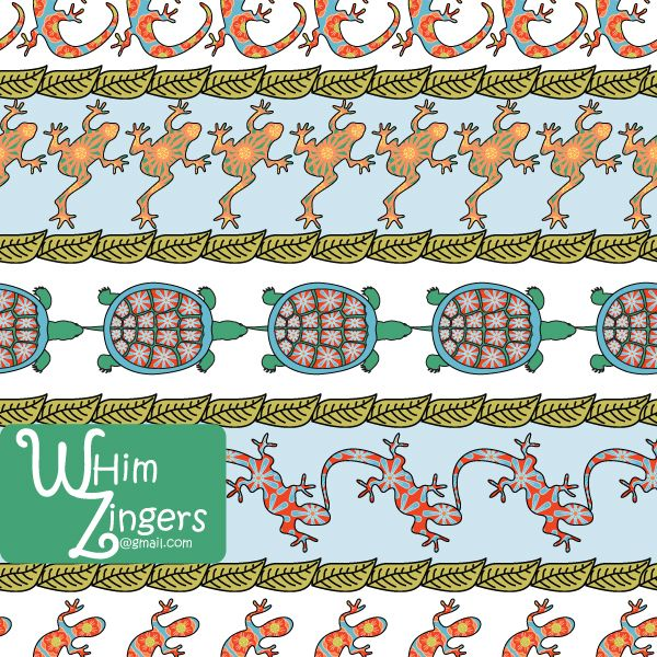 A digital repeat pattern for seamless tiling. #repeatpattern #seamlesspattern #textiledesign #surfacepatterndesign #vectorpatterns #homedecor #apparel #print #interiordesign #decor #repeat #pattern #repeat #seamless #repeating #tile #scrapbooking #wallpaper #fabric #texture #background #whimzingers #animals #frogs #turtles #lizards #bright #green #red #blue #orange