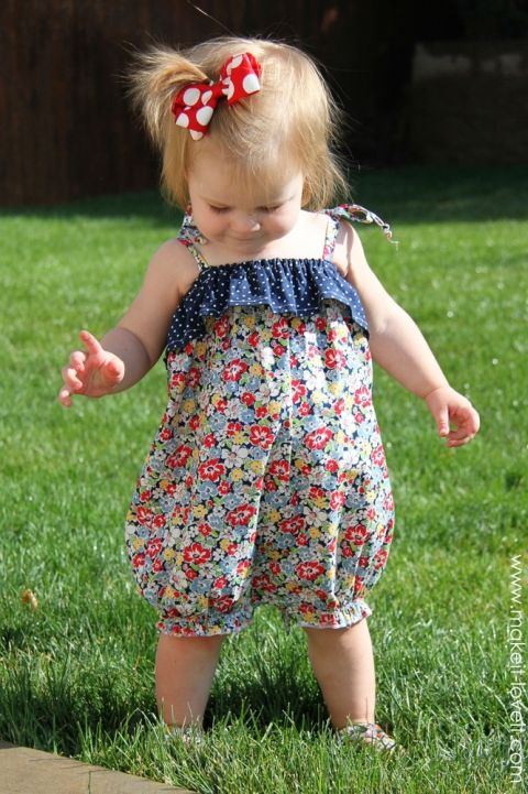 Cutest baby romper EVER. Free pattern and tutorial. Doesn\'t look too ...
