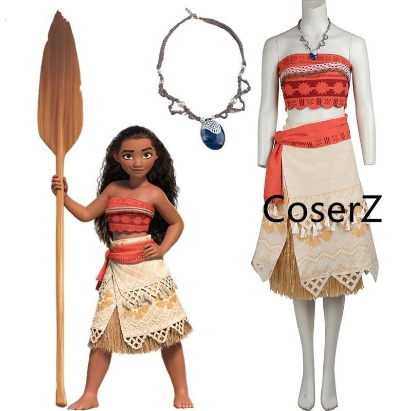 Adult//Child Moana Costume Movie Cosplay Princess Party Corset Skirt Belt Custom
