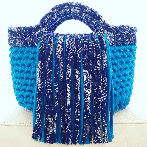 [Hoooked Zpagetti !!] синий кобальт × Paisley Синий центр скрытый двойной бахромой вязать сумки | сумка | 65-х ателье | ручная почта продаж заказ Creema