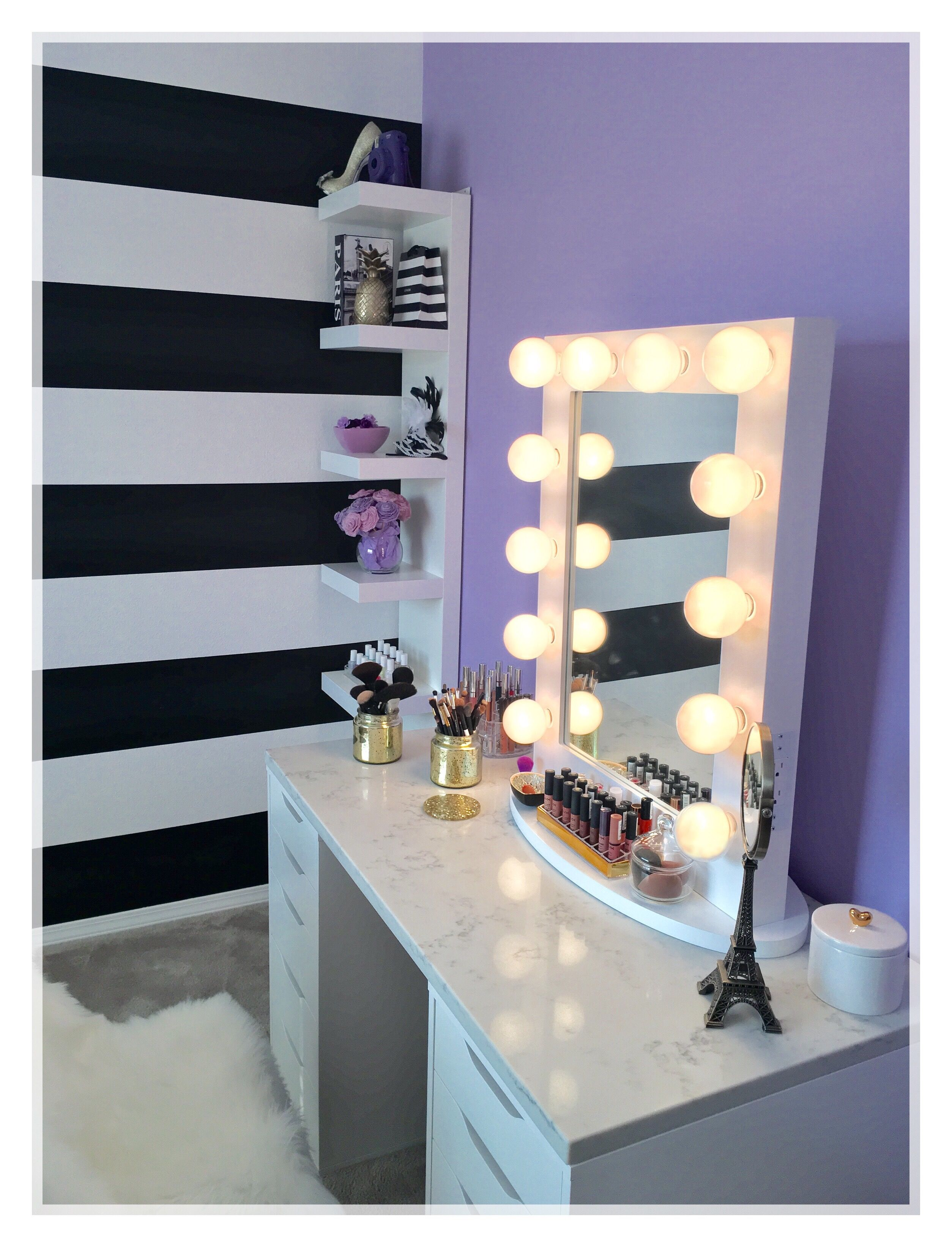 Black and white stripes vanity desk marble table top home decor