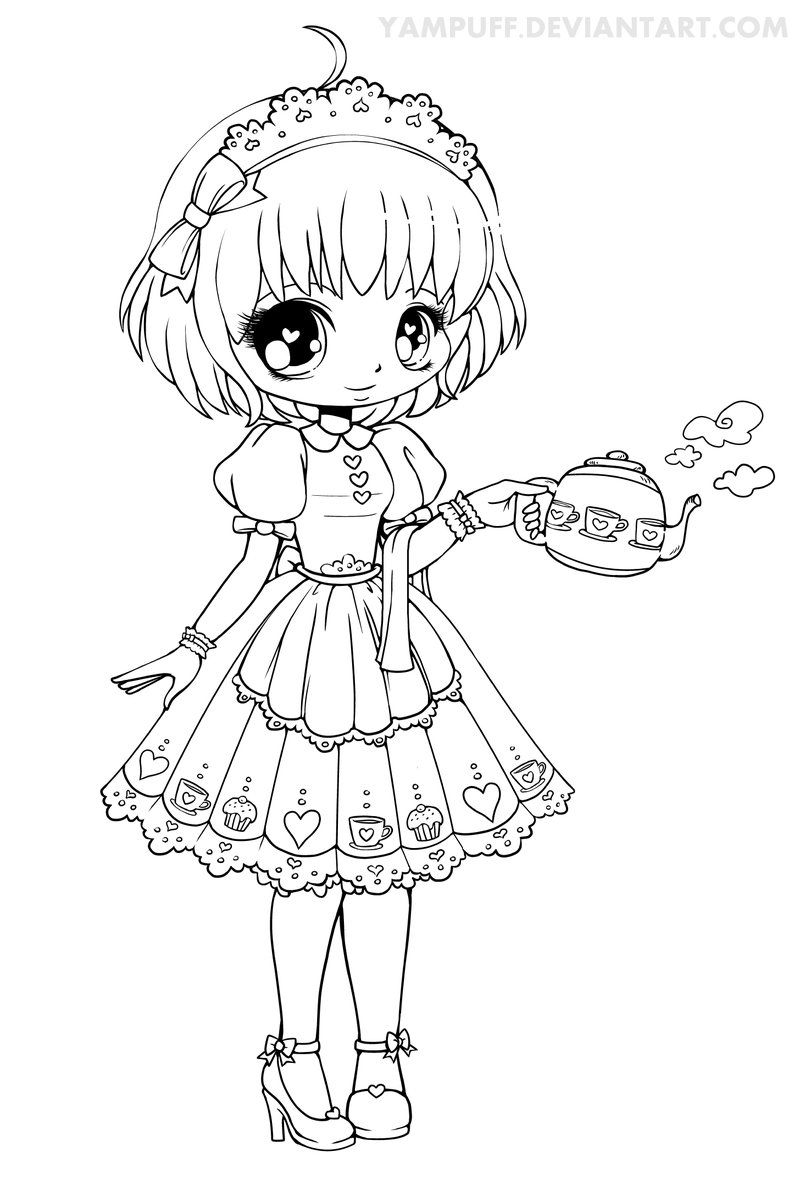 - Honey Lineart By YamPuff On DeviantART Chibi Coloring Pages