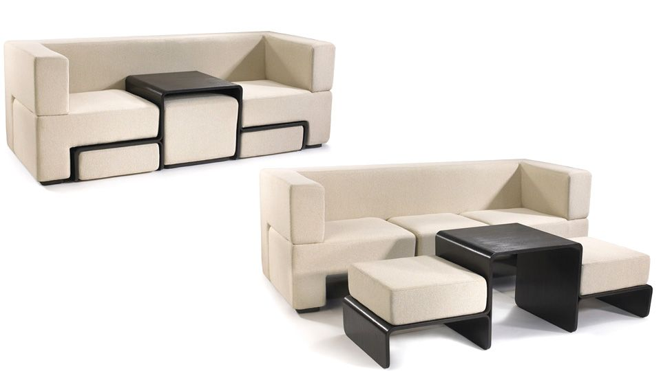 Slot Sofa Hides A Coffee Table And Matching Foot Rests Furniture Design