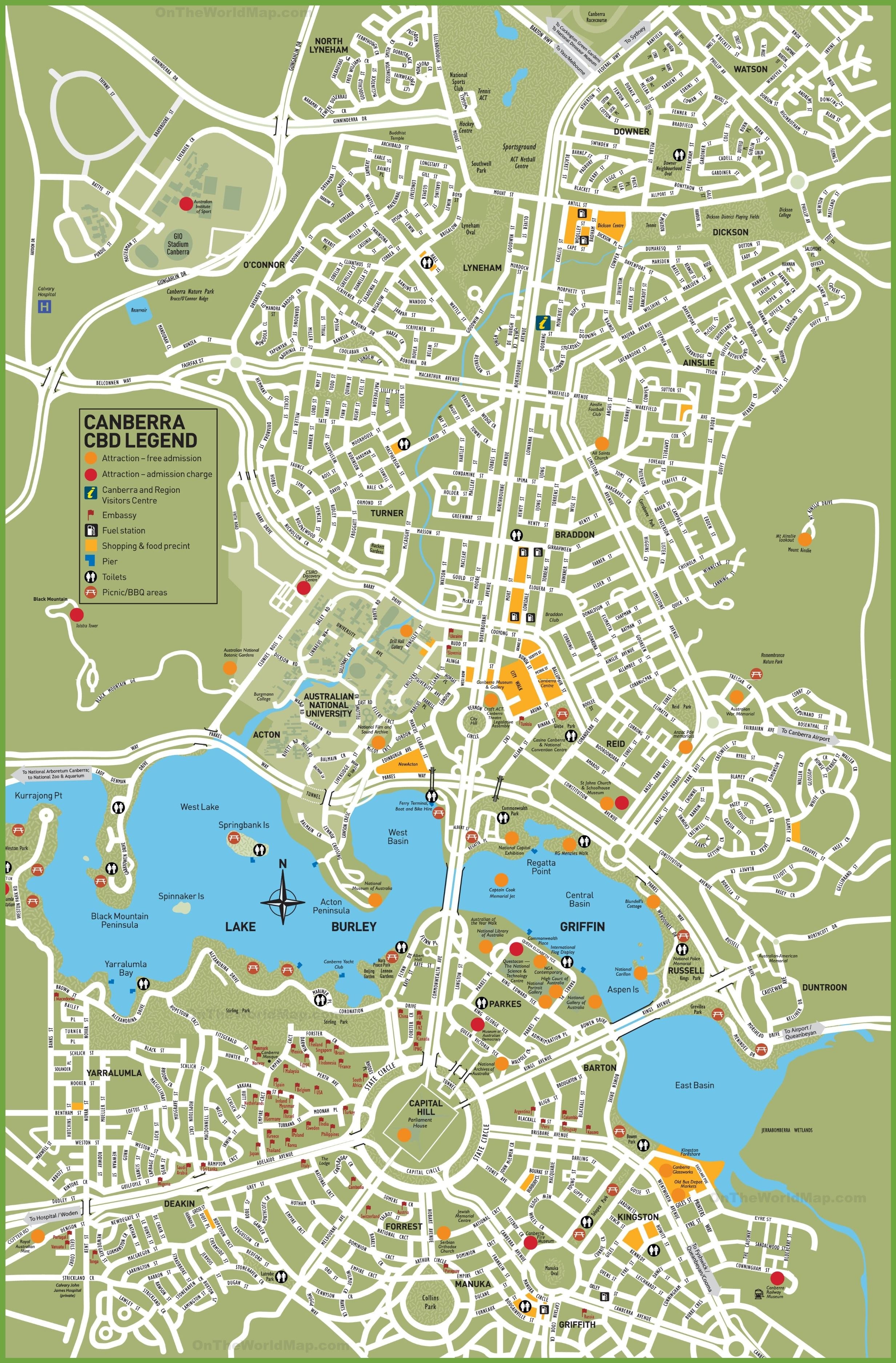 tourist map of central canberra the capital of australia