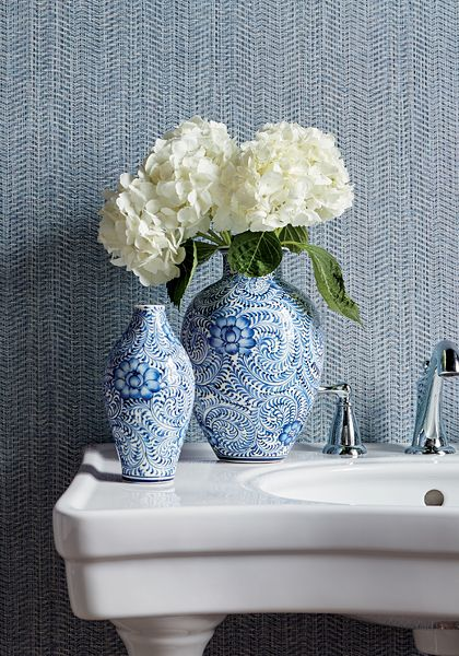 Thibaut Wallpaper Connell Blue (T325) from the Texture