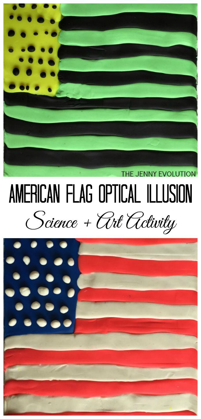 Patriotic American Flag Optical Illusion Science And Art Activity For Kids Fun 4th Of July Or Memorial Day From The Jenny Evolution