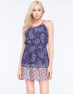 FULL TILT Hi Neck Border Print Dress