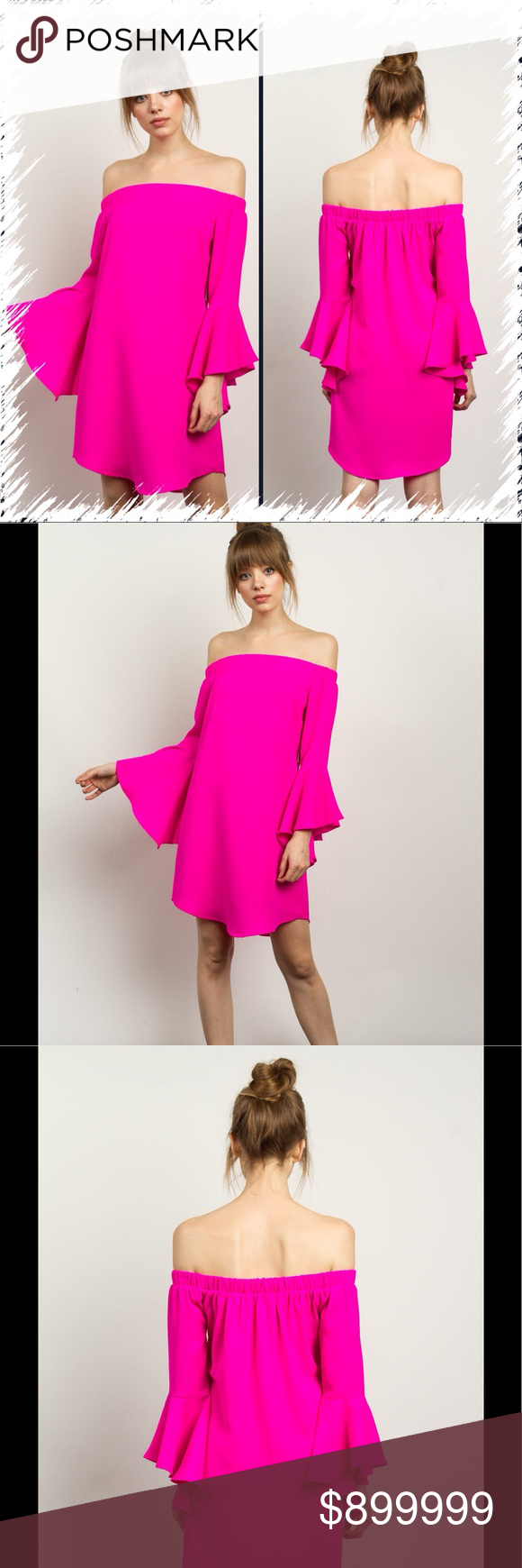 HOT PINK OFF THE SHOULDER DRESS, Size Small