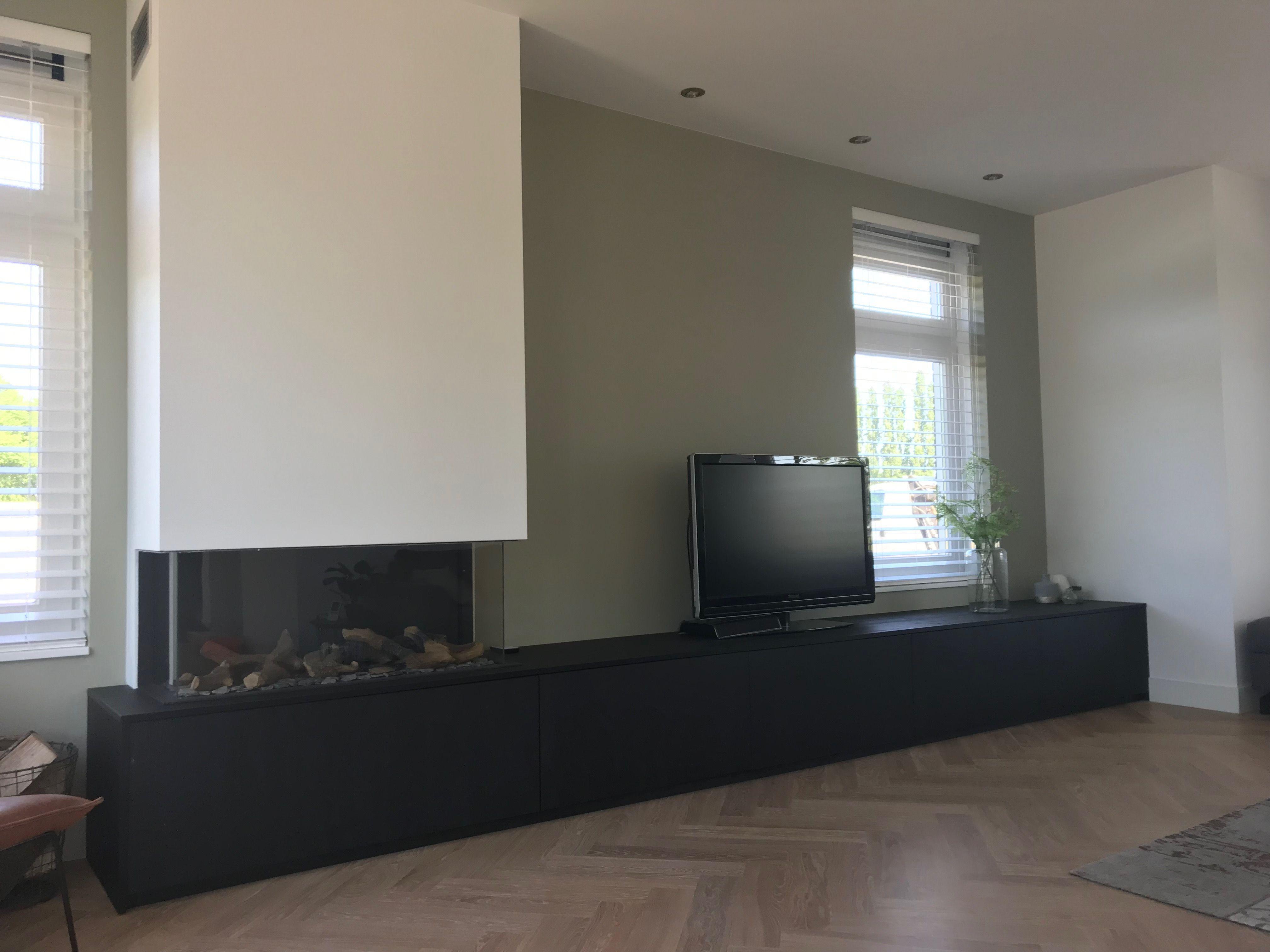 Tv Kast Nl : Haard tv kast in zwarte fineer look. ontwerp en realisatie www