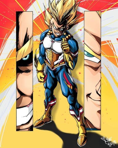 Artist Twitter Com Tonizibert Vegeta And All Might Both Voice Dragon Ball Art Anime Crossover Dragon Ball
